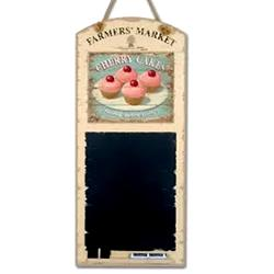 Vintage Retro French Cherry Cakes Chalkboard / Blackboard - Shabby Chic