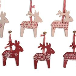 hanging christmas decorations wooden scandinavian nordic box of 6 reindeers country gifts and homeware hanging christmas decorations wooden
